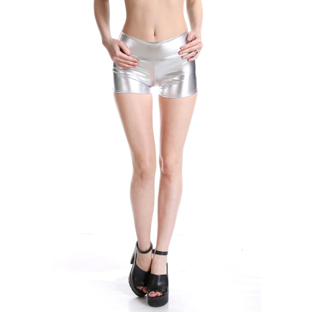 Women Shiny <font><b>Club</b></font> HotPants Mini Shorts Metallic Booty Shorts Liquid Wet Look Dance Bottoms Dancing Raves <font><b>Festivals</b></font> Costumes image