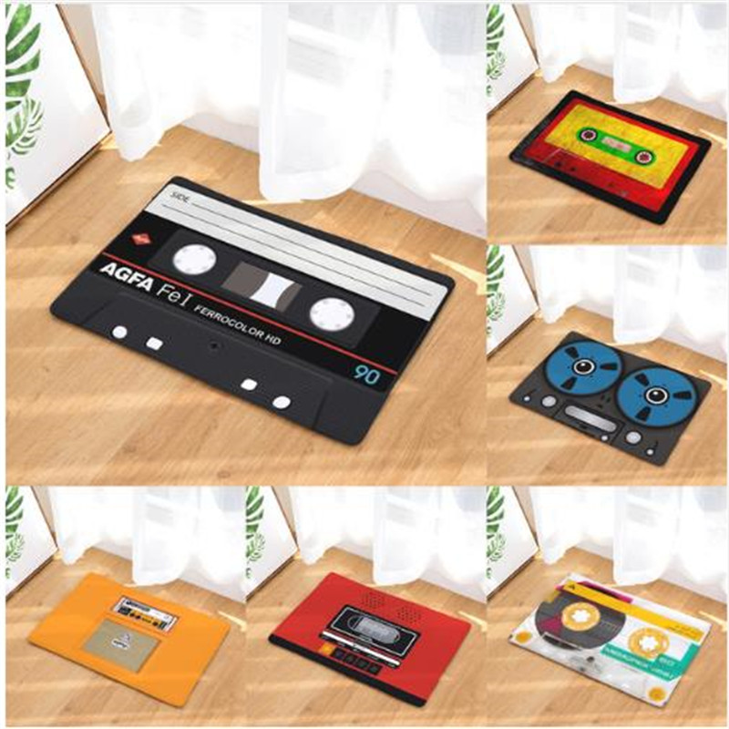 1 pc Retro Entrance Mat Anti-Slip Doormat Cassette Tape Radio Carpets Bedroom Rugs Decorative Stair Mats Home Decor