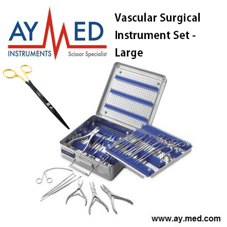 Premium Quality Vascular Surgical Instrument Set - Large - Surgical Surgery Scissors dual color bonded surgical instrument 2 tone superheavy wraps 45x45