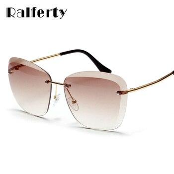 Ralferty 2018 بدون شفة النظارات الشمسية المرأة العلامة التجارية مصمم خمر البني التدرج نظارات شمسية UV400 نظارات اكسسوارات Oculos W2301