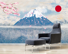 Beibehang Custom wallpaper home decor mural hand-painted abstract Japanese style Mt. Fuji cherry TV background wall 3d