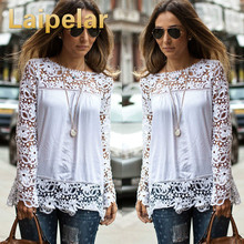 S-7XL Large Size Chiffon Blouses Fashion Women's Blouse Lace Long Sleeve Shirt Crochet Blusa Tops Blusas Femininas Camisa