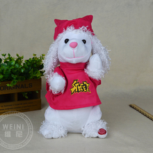cartoon dog toy about 30cm Electric poodle dressed red coat,singing and dancing doll birthday gift, Xmas gift c963
