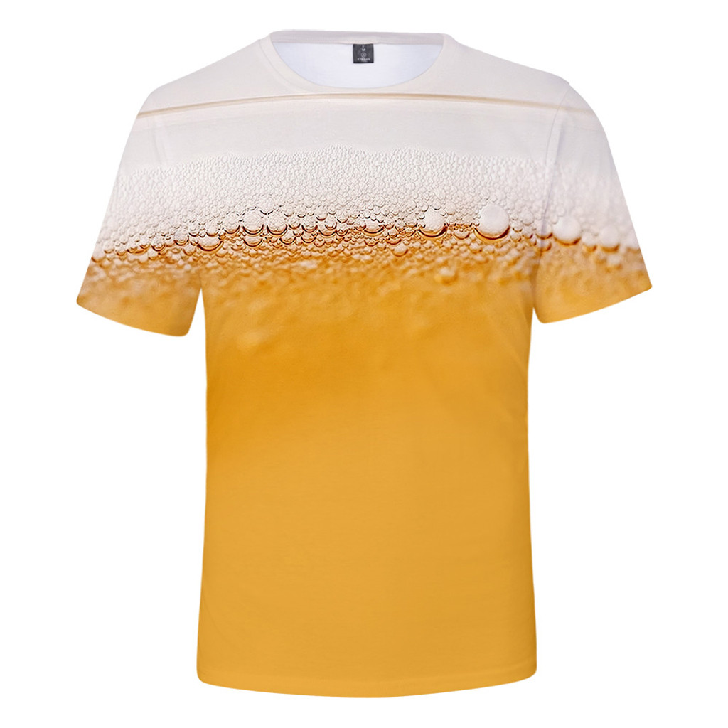 2019 High Quality Men's Summer Beer Festival New Style 3D Printing O-Neck Short Sleeve Blouse Tops Support Wholesale Dropship image