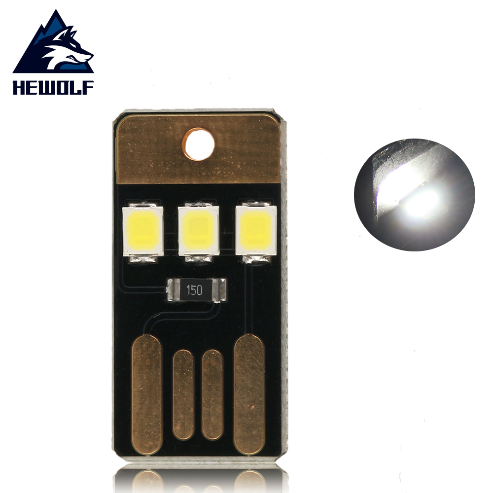 Hewolf Mini USB Power LED Light 2 W Ultra Low Power 2835 Chips Pocket Card Lamp Portable Night Camp Free Shipping hot