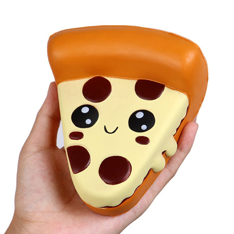 Jumbo Cute Pizza Squishy Slow Rising Simulation Soft Squeeze Toy PU Bread Cake Scented Anti Stress Fun For Kid Xmas Gift 13*11CM