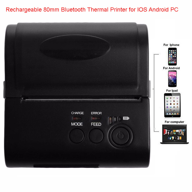 НОВЫЙ ZJ-8001 Портативный Термальный Принтер Поддерживает Для Компьютера Apple/Android Мобильный Телефон 80 мм Bluetooth для Беспроводной Receip Печати