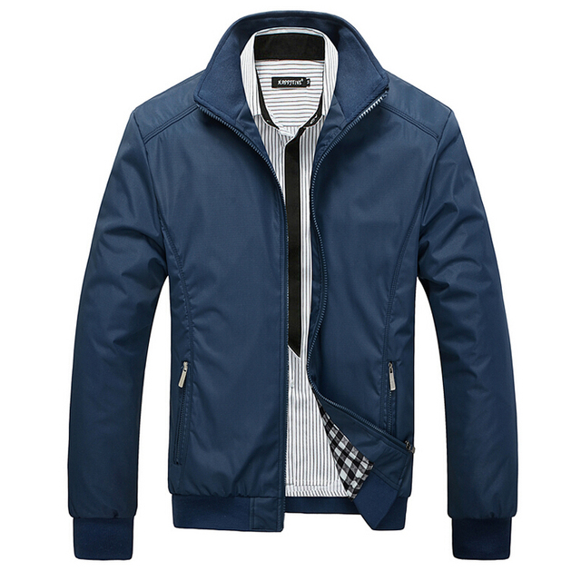 Men Jacket Male Casual Slim Fit Mandarin Collar Solid Jackets M-XXXL Brand New 2017 Men's Fashion Overcoat Clothing