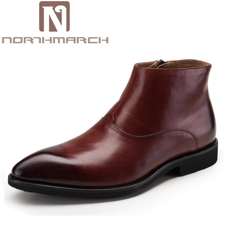 NORTHMARCH Winter British Style Winter Martin boots Pointed Toe Men's Shoes Business Leather Ankle Boots Men Botas Hombre Cuero red men wedding dress shoes pointed toe ankle boots genuine leather botas hombre cowboy military boots metal decor men flats