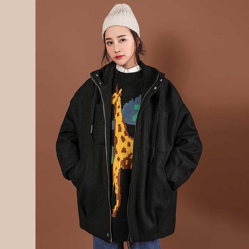 2019 Yeni Stil Gevşek Ceket Kadın Moda İlkbahar Sonbahar Rahat Kapşonlu Palto Büyük Boy Ceket Casaco Feminino LIU09