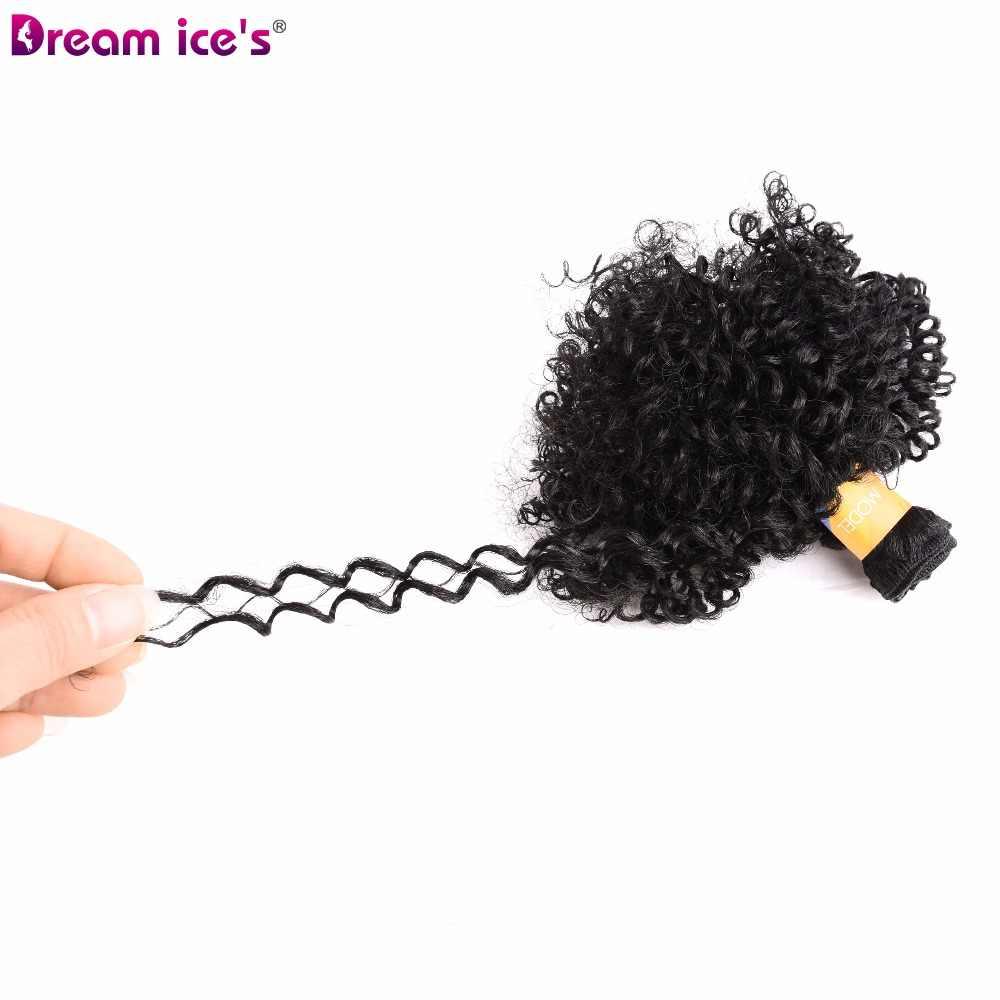 Traum eis der Afro bouncy lockige bundles haar extensions 6 teile/paket einer packung einer kopf synthetische haarwebart für schwarz frauen