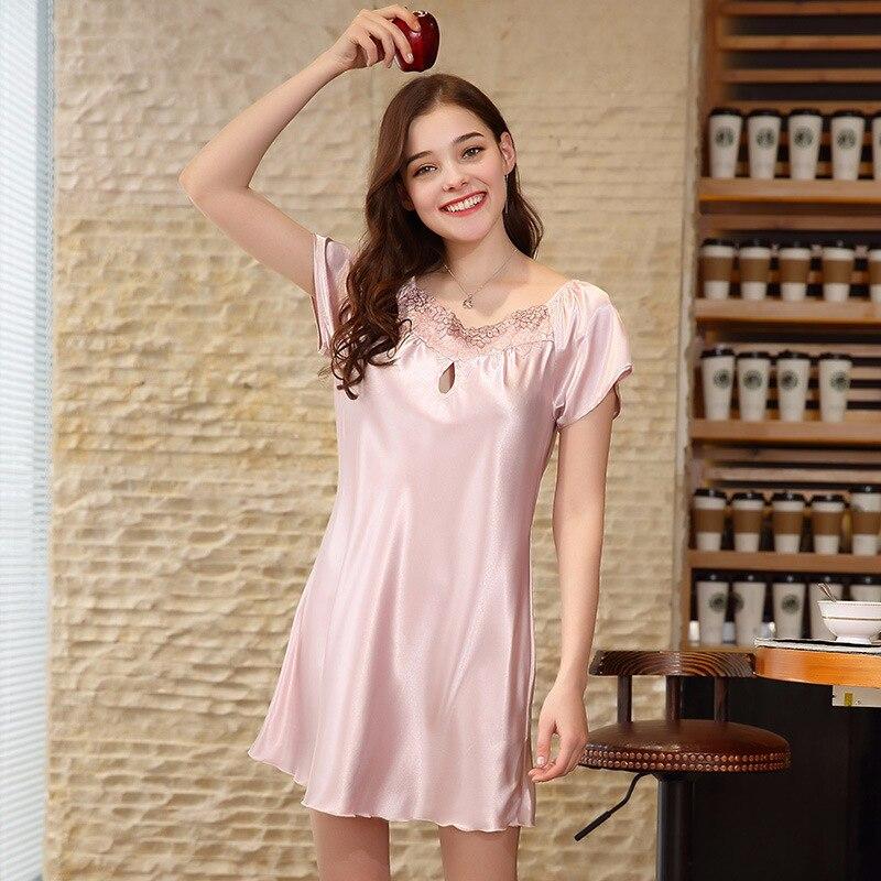 f6e545b87dc3 NG0183 Summer Plus Size Women Nightgowns Short Sleeves Sexy Lace Lingerie  Sleepwear Ladies Satin Silk Nightdress Female Pyjamas