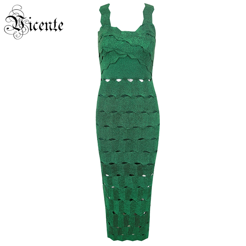 Vicente HOT Chic Green Midi Dress Sexy Sleeveless Hollow Out 2019 New Wholesale Celebrity Party Bandage