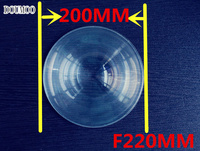1 pcs free shipping condenser lens Diameter 200 mm Focal length 220 mm Fresnel Lens High pervious to light Screw plastic lense