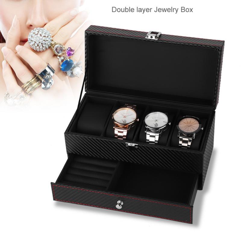 Коробка для часов из искусственной кожи с 4 решетками, двухслойная коробка для хранения ювелирных изделий, органайзер, роскошный черный подарочный шкатулка|Коробочки для часов|   | АлиЭкспресс