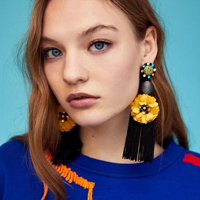 Dvacaman Handmade Big Cloth Flower Statement Drop Earrings Boho Ethnic Long Tass