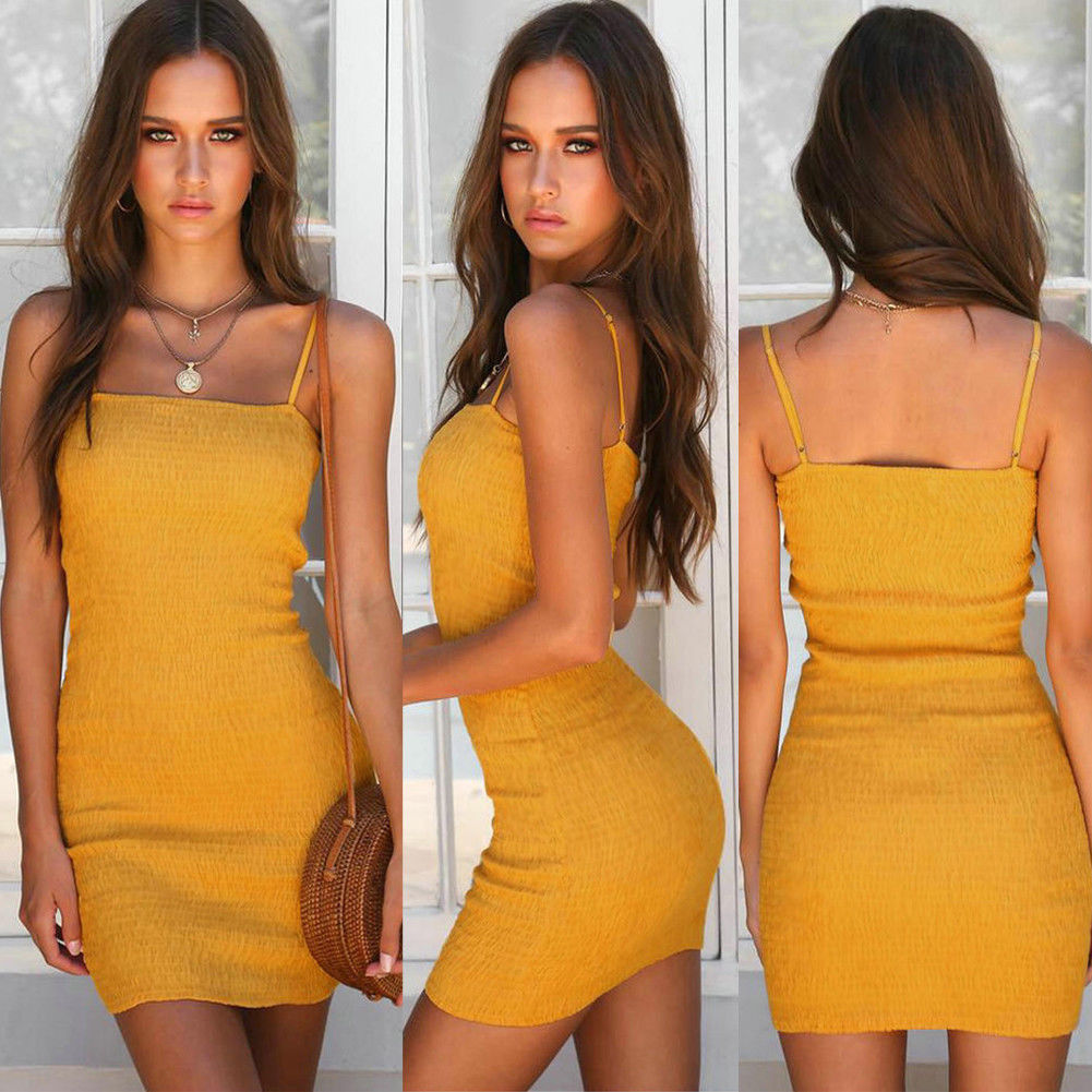 Sexy Women Lady Bodycon Mini Dress Sling Backless Slim Club Dress Summer Women Clothing Femme VESTIDOS
