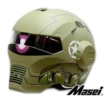 MASEI610 IRONMAN capacete da motocicleta Capacete motocross metade Tendência Personalidade capacete aberto rosto capacete Raça do Ciclo capacete Matte Verde