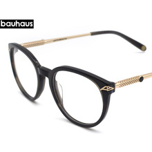 4df9721991 bauhaus 2018 Round Eyeglasses Full Acetate Glasses Frame Men Women Metal  Temple