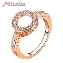 MISSITA Romantic Rose Gold Clear CZ Circle Round Rings for Women Wedding Finger Ring Gift Brand Fashion Jewelry anillos mujer