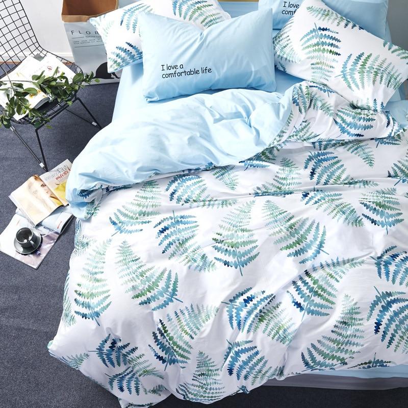 2018 couette ensemble de literie queen size coton princesse frais housse de couette lit feuilles 4 pcs roupa de cama accueil textile couvre-lit