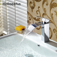 Brand New Polished Basin Sink Waterfall Tap Single Lever Single Hole Deck Mounted Basin Waterfall Faucet