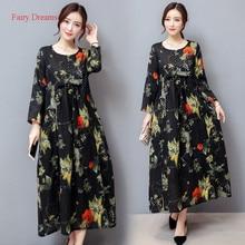 Fairy Dreams Women Plus Size Clothing XXXL Dresses Loose Long Dress 2017 Spring Autumn New Style Maxi Dresses vestidos de festa