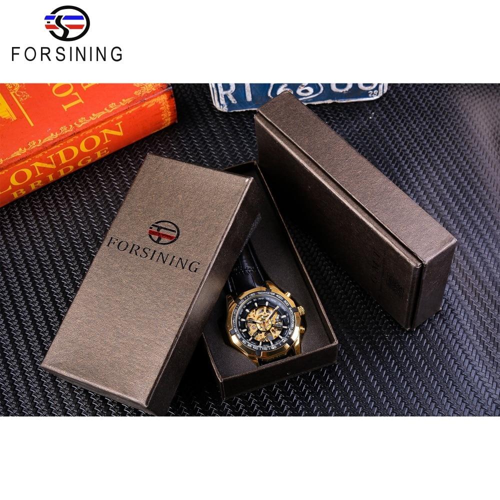 Forsining Waterproof Golden Black Skeleton Clock Two Button Decoration Mechanical Wrist Watches for Men Black Genuine Leather 6