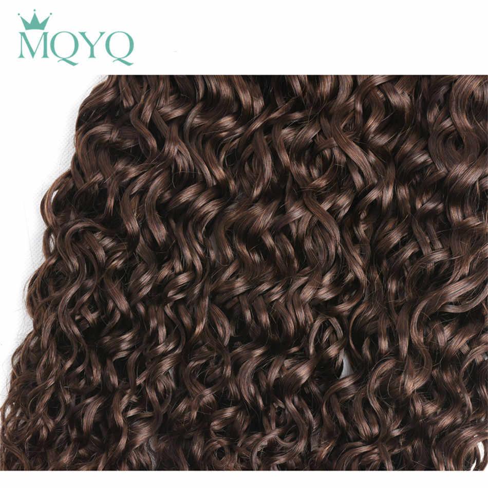 Mqyq предварительно Цветной Малайзии 3 пучки Человеческие волосы ткань волна воды не Волосы Remy Ткань Расширение светло-коричневый #4 естественно вьющиеся волос