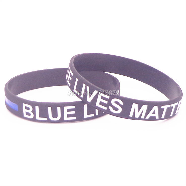 50pcs Thin Line blue Lives Matter silicone wristband