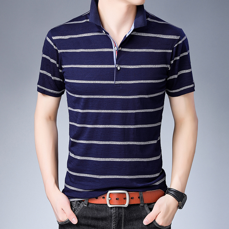 2019 New Fashion Brand   Polo   Shirts Men's Top Grade British Style Slim Fit With Short Sleeve Striped Poloshirt Casual Clothes