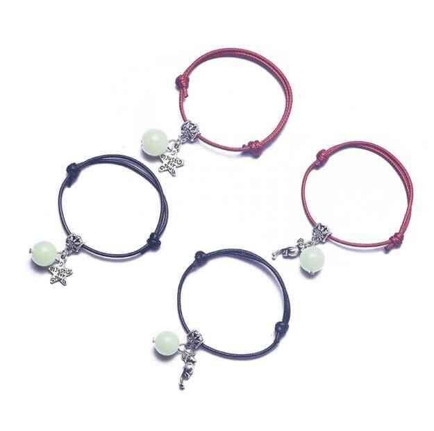 В Корейском стиле; в национальном стиле модные пары ручной светящийся камешек пентаграмма сердцелистный браслет унисекс черно-красный веревочный браслет