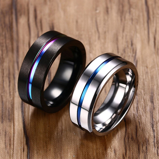 8MM Black Titanium Ring For Men Women Wedding Bands Trendy Rainbow Groove Rings