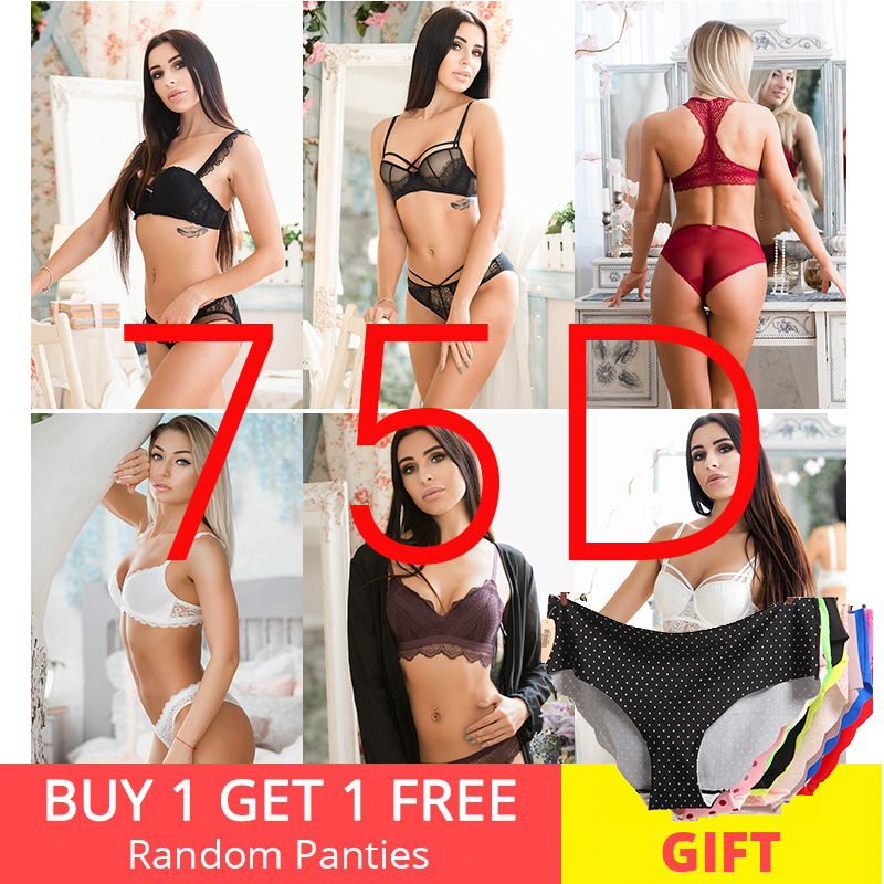 75D   Bra     set   Buy More Big Discount dress small seamless intimates push up wireless thicken cup underwear women   bra   and panties