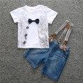 TZK236 Джентльмен Розничная мальчиков случайные летняя одежда устанавливает рубашка + джинсы 2 шт.. костюмы для мальчиков костюм младенца Бесплатная Доставка 2017