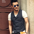 Striped Double Breasted Suit Vest Men Spring Summer New Male Dark Blue Slim Business Vests Formal Sleeveless Jacket A993