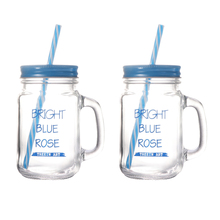 2Pcs 500ML Straw Mason Cup Tumbler Portable Juice Cup Glass Drinking Cup With Straw Lid For Home Kitchen Restaurant Daily Use straw tumbler with lid