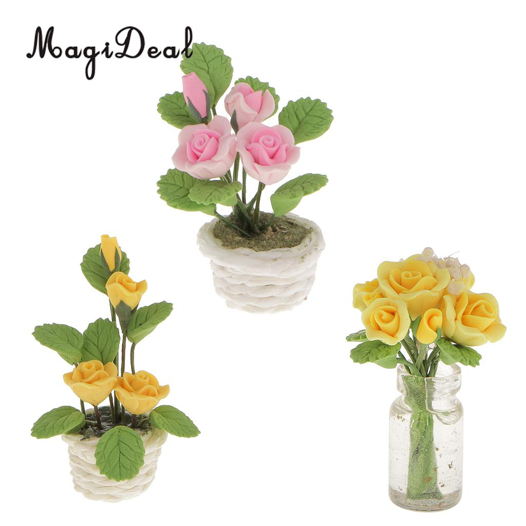 1:12 Scale Dollhouse Miniature Clay Flowers in Rattan Pot Planter Fairy Garde PL