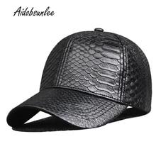 Gorras de béisbol PU cuero sólido ajustable Casual moda Unisex camionero  gorra Snapback patrón de piel de serpiente hombres somb. 41a18f33832