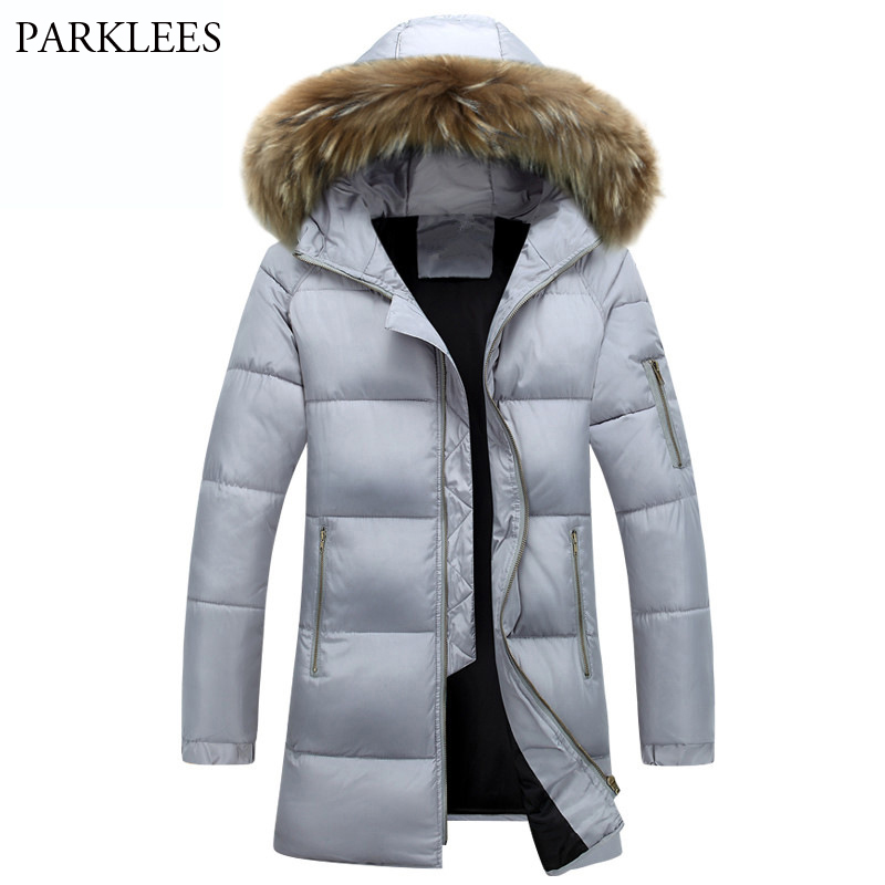 New 2017 Brand Men Fur Parka Trend Hooded Design Long 76gybf
