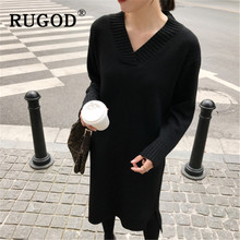 RUGOD Korean ins solid knitted pullover dress women Elegant Long sleeve V neck ladies midi Winter warm streetwear female
