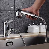 Modern Pull Out Kitchen Faucet Single Holder Single Hole Mixer Tap Chrome Torneira Cozinha Deck Mounted