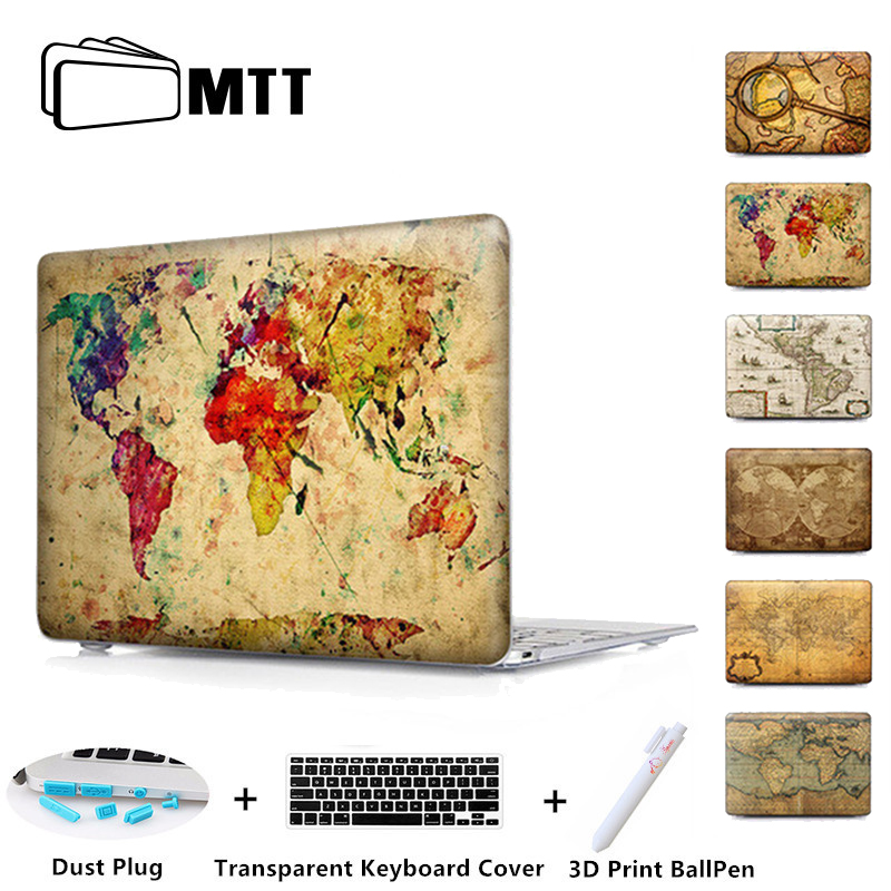 Old World Map Crystal kemény tok Macbook Air 11 Air 13 Pro retina 13 15 tok Mac-könyvhez Pro 13 15 Új 2017 Touch Bar A1706