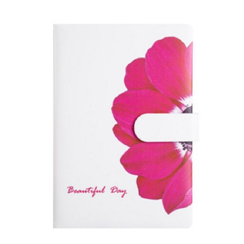 A5 Rose Flower Notebook with Magnet buckle Note book with Horizontal Line Page and Blank 217*145mm, 128 Sheets Paper (80g White) standard a5 style leather notebook inside loose leaf page have 6 hole on page paper insde 60 pcs quality kraft blank page