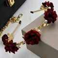 2016 nueva moda rojo oscuro rosa perla de la flor de la aleación hojas diadema de reina de la alta sociedad banda para el cabello de gama alta de la joyería del pelo