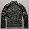 Bordado cráneos vintage vacuno contraste de color chaqueta de la motocicleta chaqueta de cuero genuino moda hombres punk biker chaquetas de manga