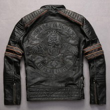 embroidery skulls vintage cowskin motorcycle genuine leather jacket men