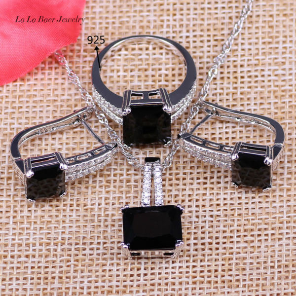 L&B 925 Logo Silver Color Square Black Crystal White Zircon Jewelry Sets Hoop Ea