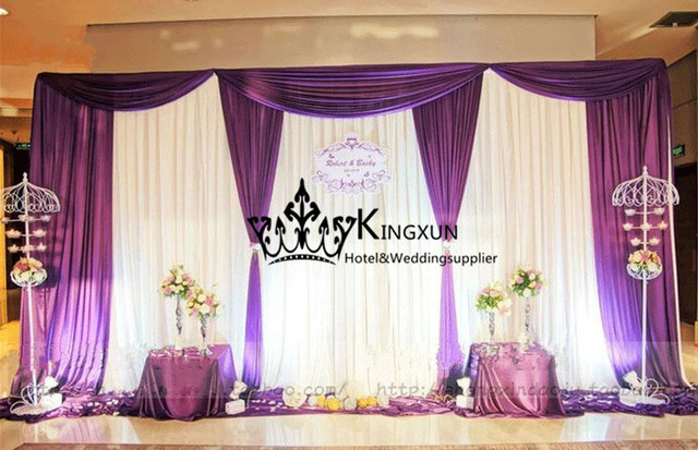 cheap price wedding backdrop curtain white purple color in window