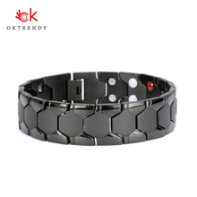Oktrendy New Casual Style Men Magnetic Bracelet Simple Black Stainless Steel Bracelets for Arthritis Health Care Jewelry Gifts